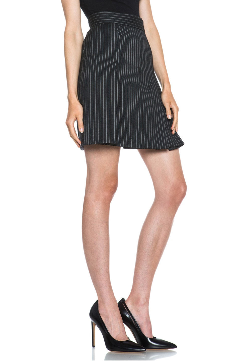 Image 3 of Stella McCartney Valencia Pinstripe Wool-Blend Skirt in Charcoal