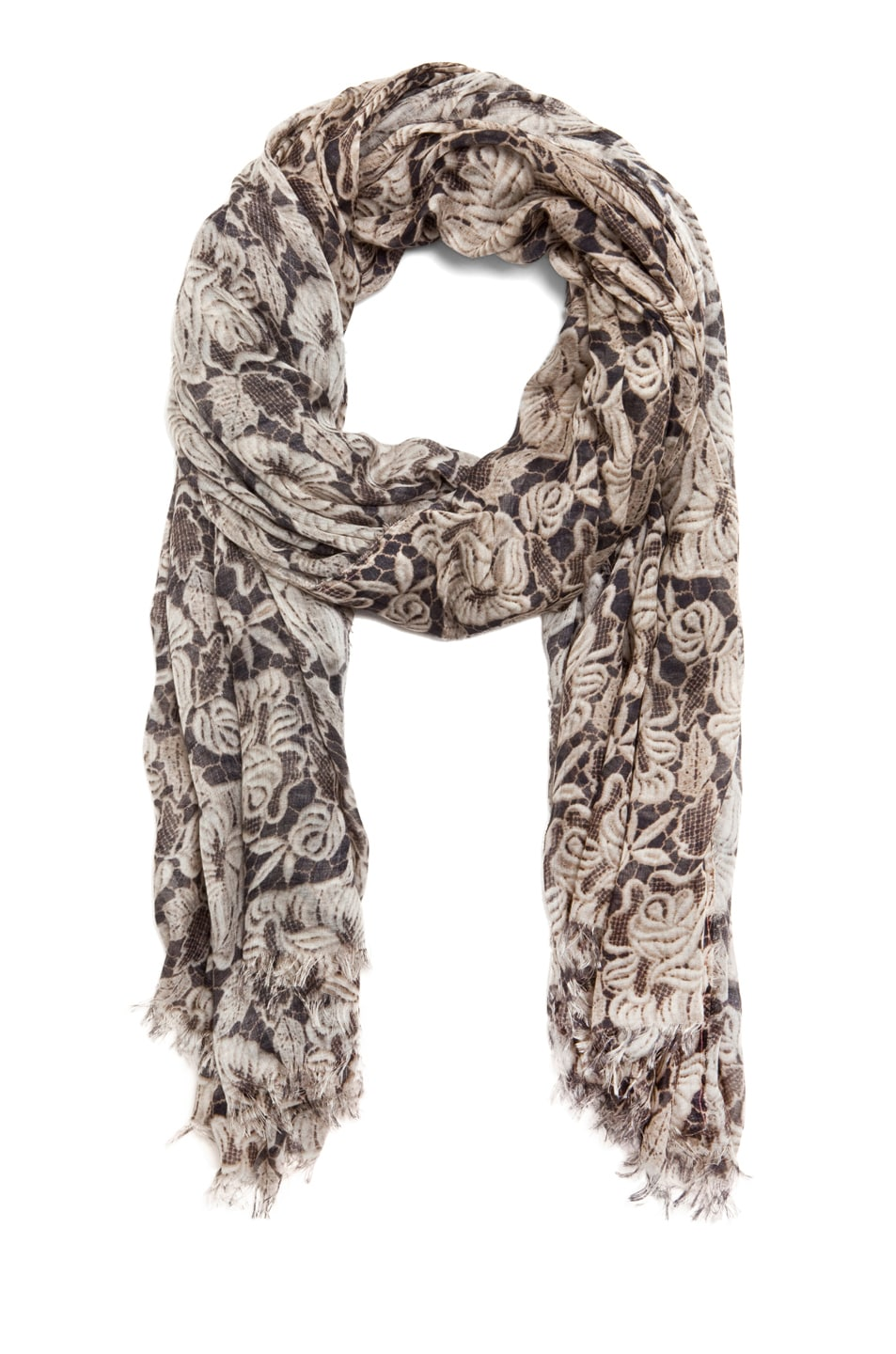 Image 2 of Stella McCartney Lace Print Scarf in Ivory
