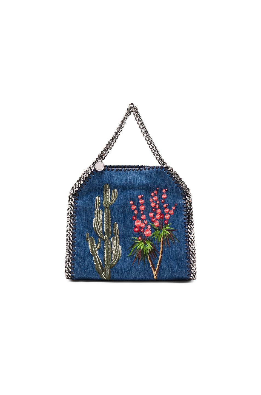 Image 2 of Stella McCartney Falabella Mini Embroidered Tote in Cerulean
