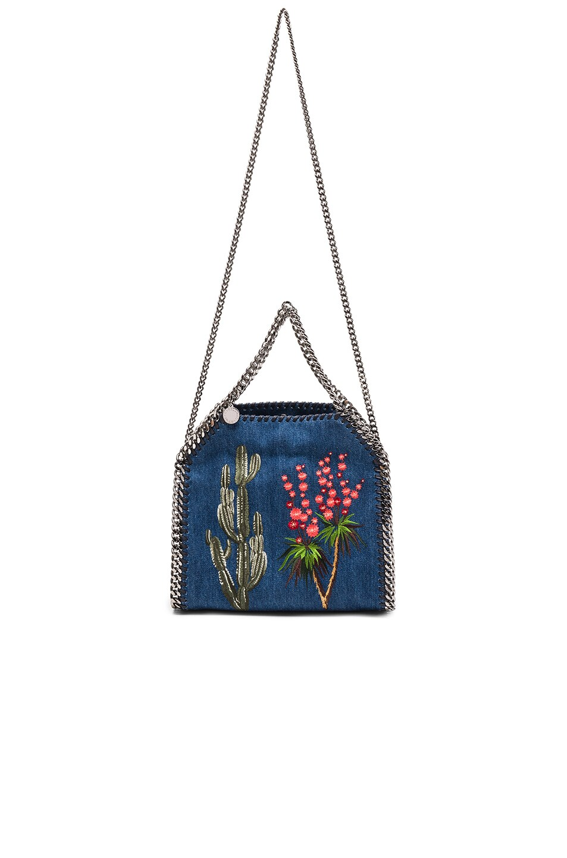 Image 6 of Stella McCartney Falabella Mini Embroidered Tote in Cerulean