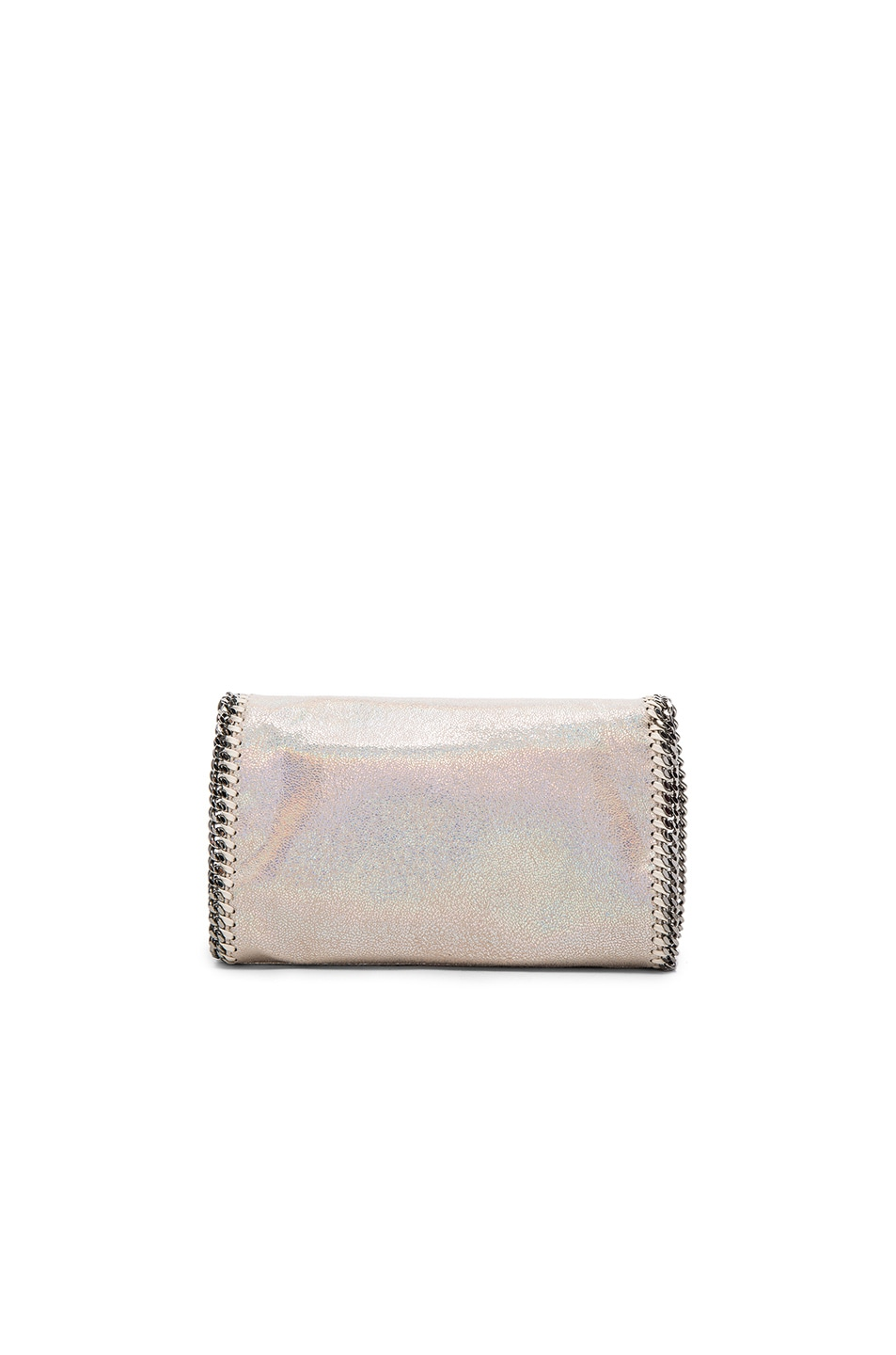 Image 2 of Stella McCartney Falabella Holographic Chamois Fold Over Crossbody in Holo Cream