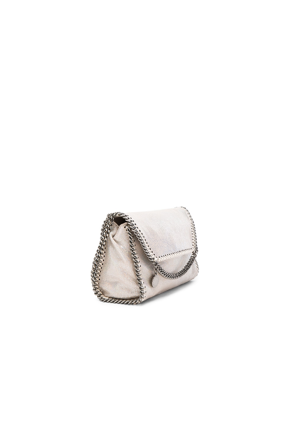 Image 3 of Stella McCartney Falabella Holographic Chamois Fold Over Crossbody in Holo Cream