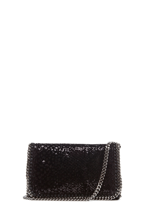 Image 1 of Stella McCartney Velvet Paillettes Clutch in Black