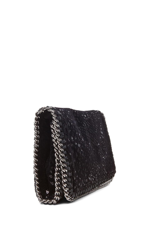 Image 3 of Stella McCartney Velvet Paillettes Clutch in Black