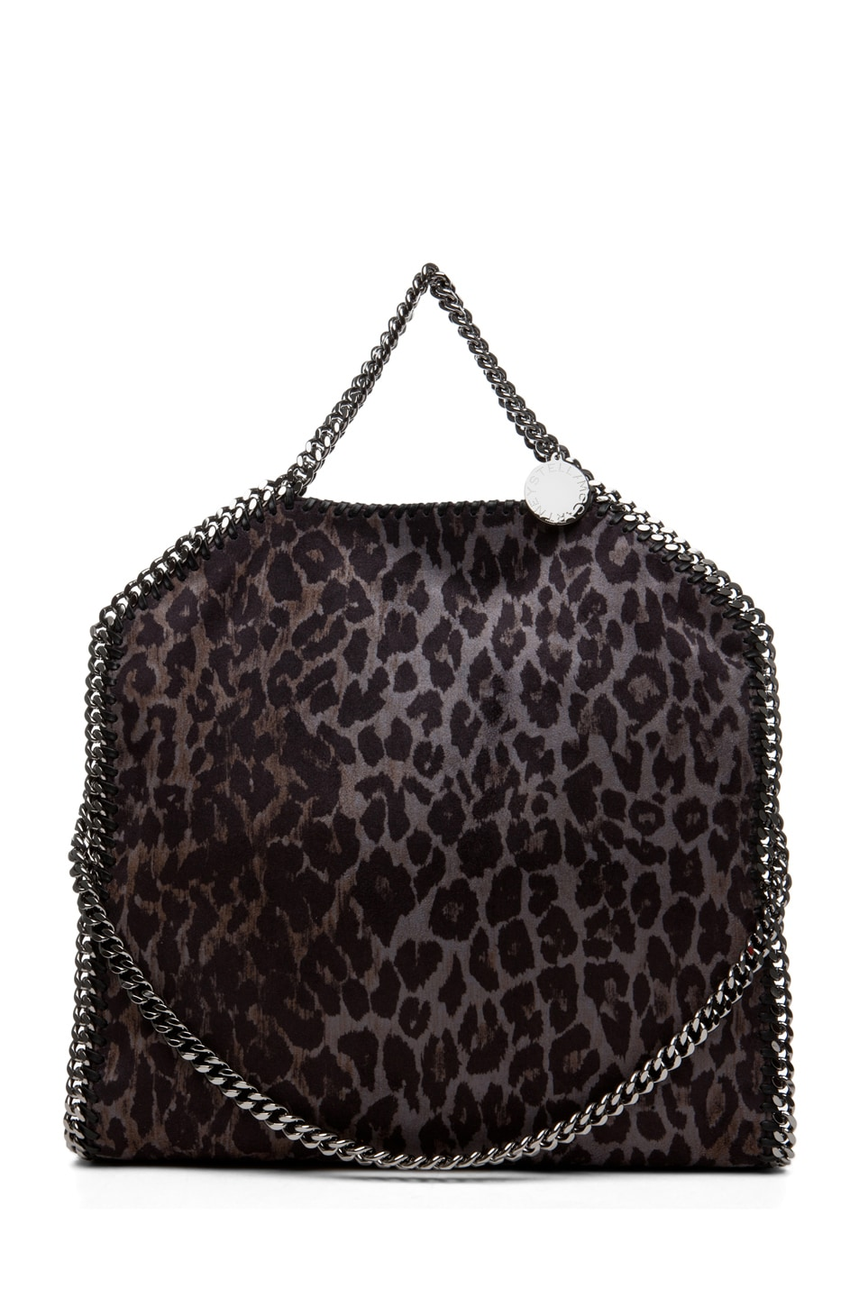 Image 1 of Stella McCartney Small Leopard Faux Suede Tote in Bark