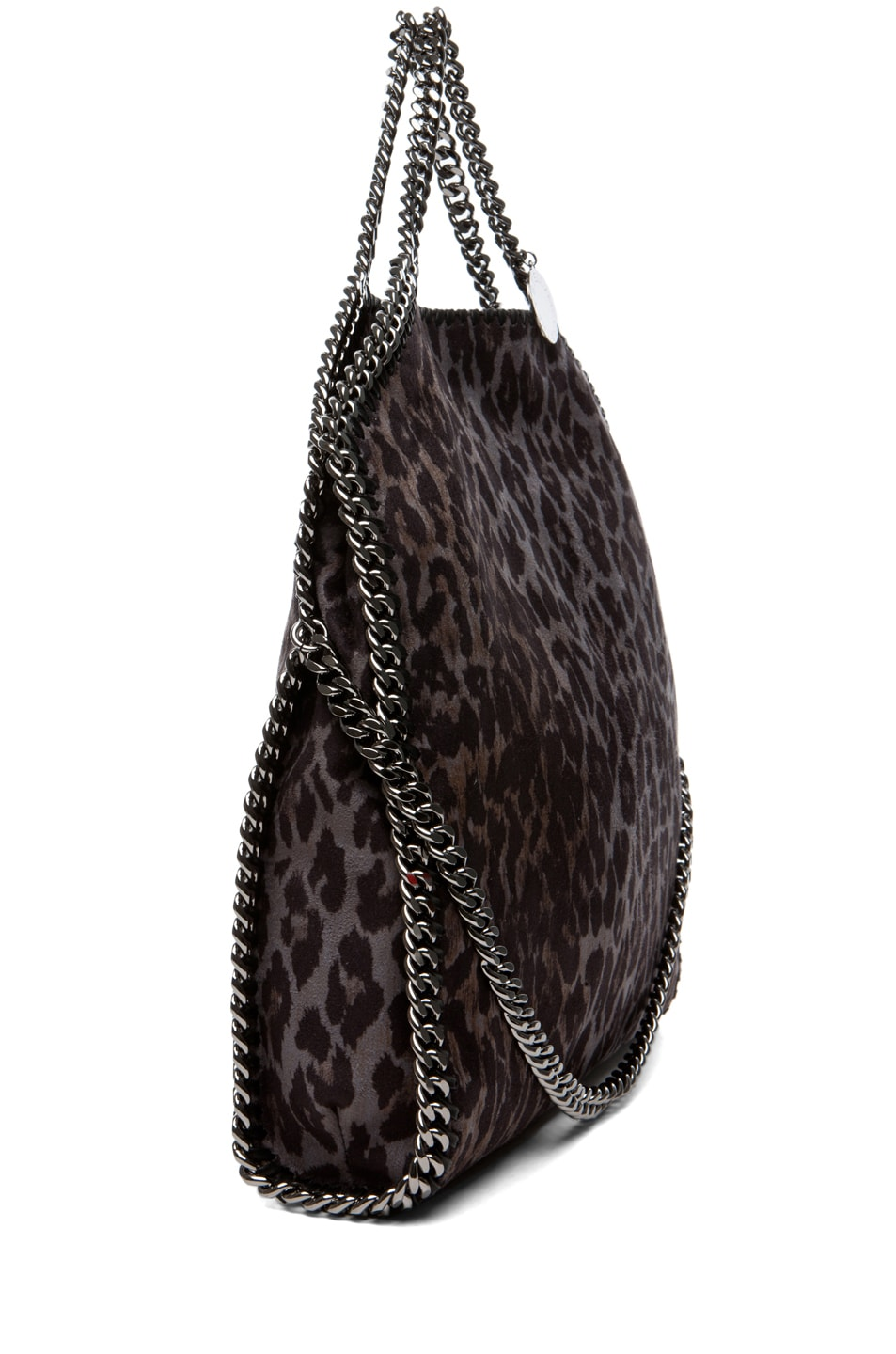 Image 3 of Stella McCartney Small Leopard Faux Suede Tote in Bark