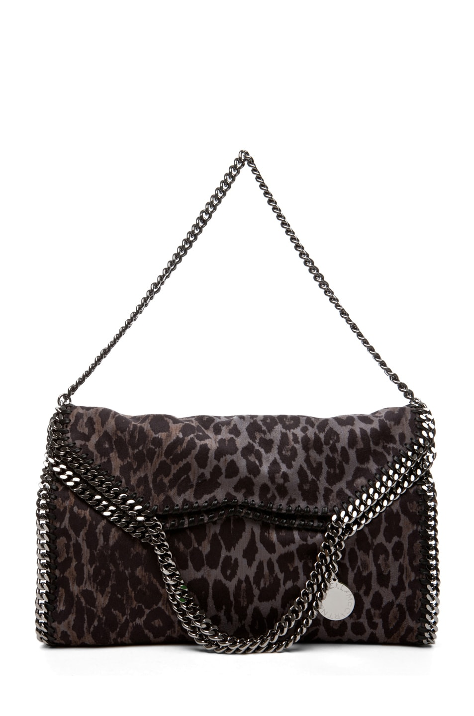 Image 4 of Stella McCartney Small Leopard Faux Suede Tote in Bark