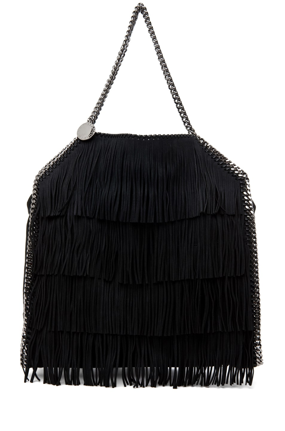 Image 1 of Stella McCartney Falabella Large Suede Fringe Tote in Black