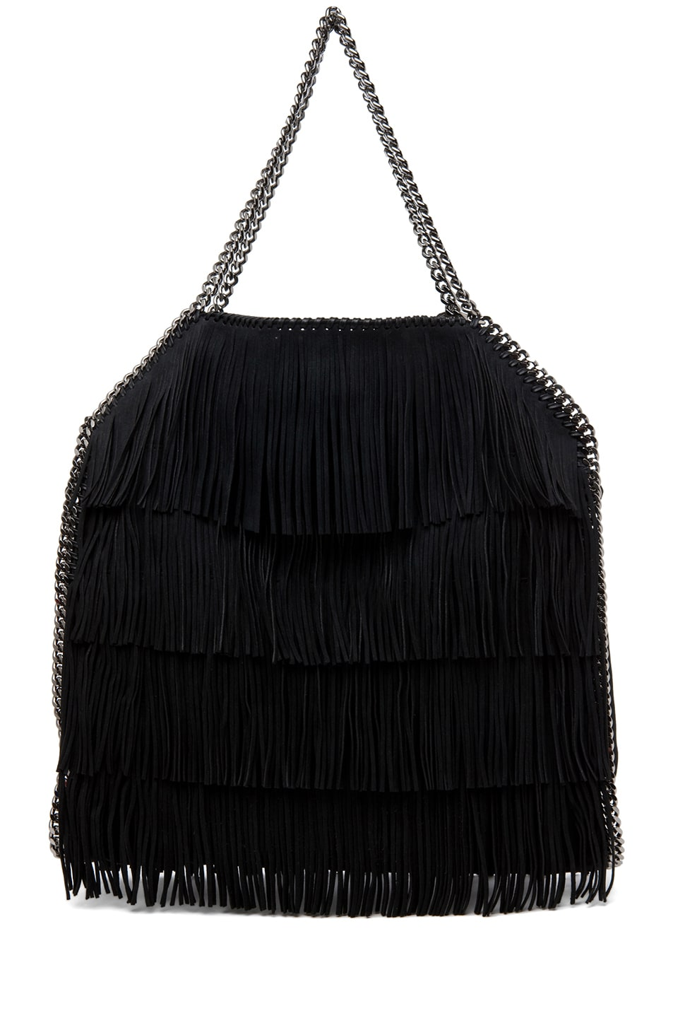 Image 2 of Stella McCartney Falabella Large Suede Fringe Tote in Black