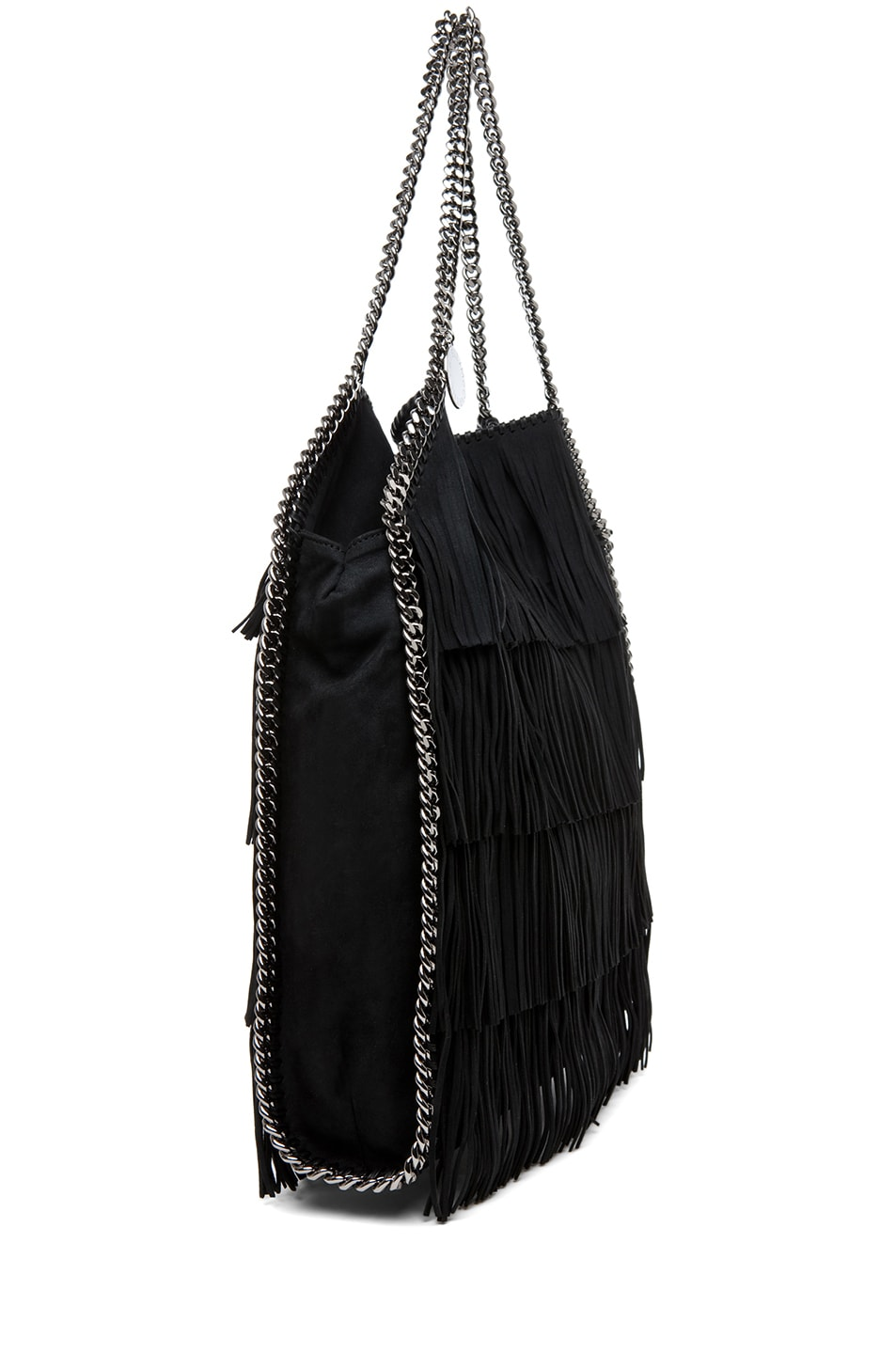 Image 3 of Stella McCartney Falabella Large Suede Fringe Tote in Black