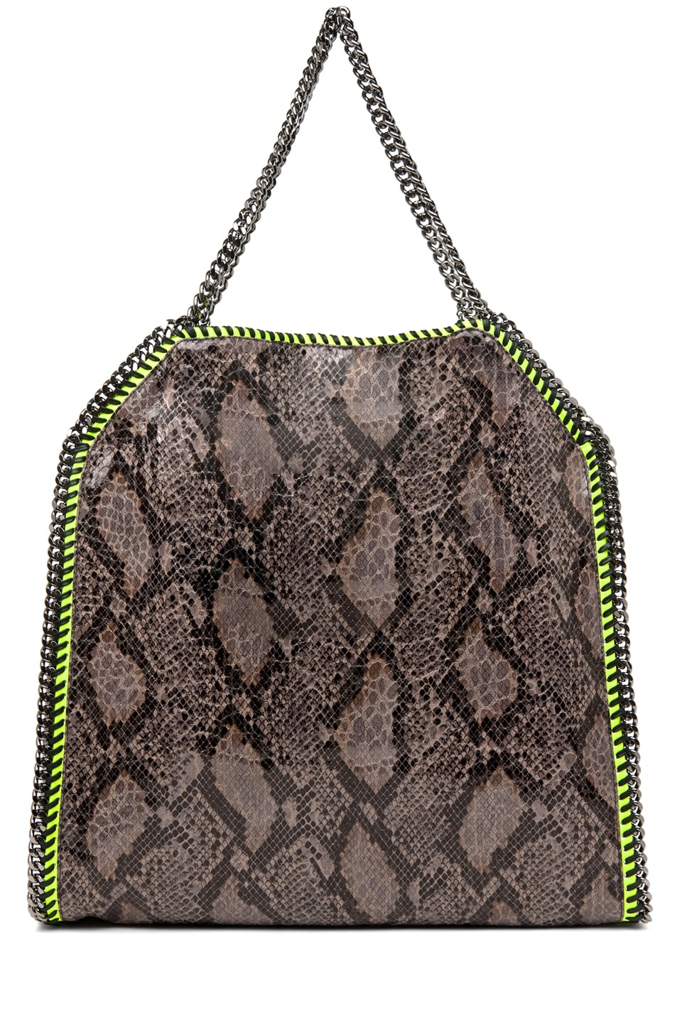 Image 2 of Stella McCartney Falabella Large Faux Python Tote in Grey