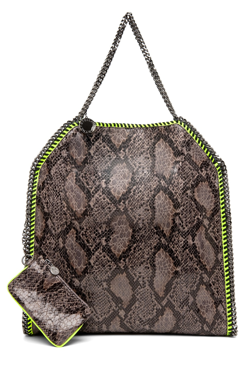 Image 5 of Stella McCartney Falabella Large Faux Python Tote in Grey