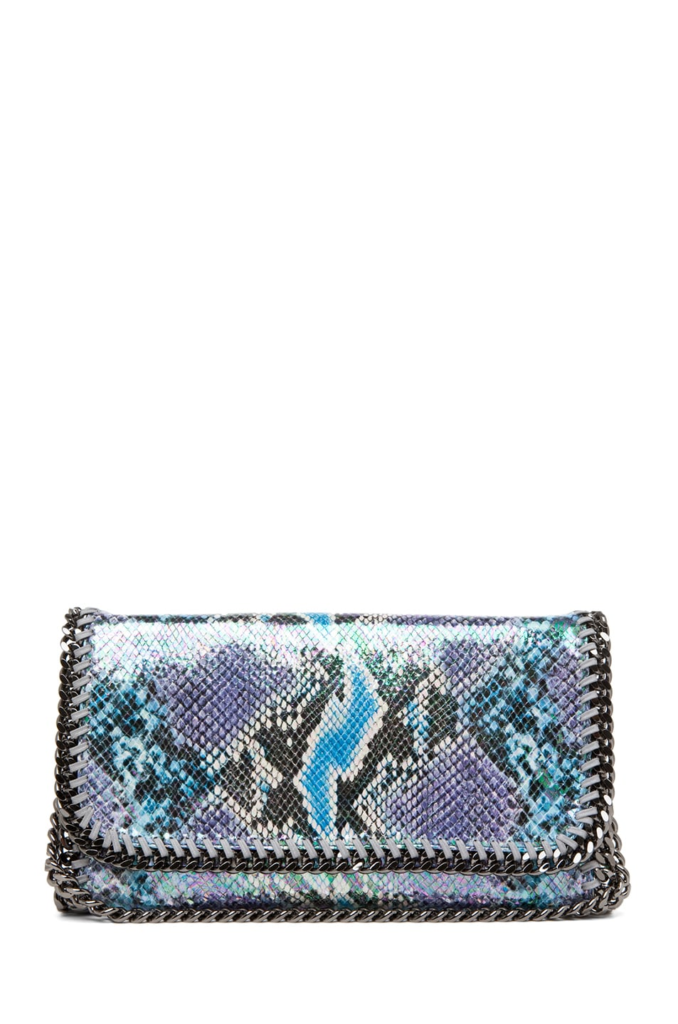Image 1 of Stella McCartney Falabella Oleografic Python Clutch in Navy