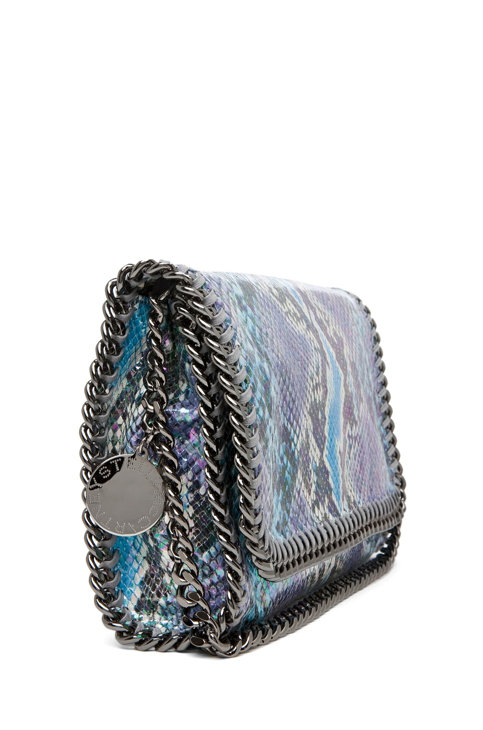 Image 3 of Stella McCartney Falabella Oleografic Python Clutch in Navy