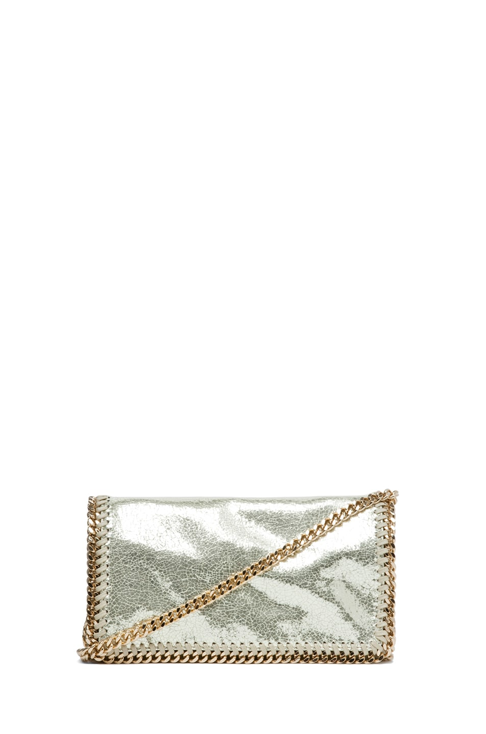 Image 1 of Stella McCartney Metallic Crackle Clutch in Platinum