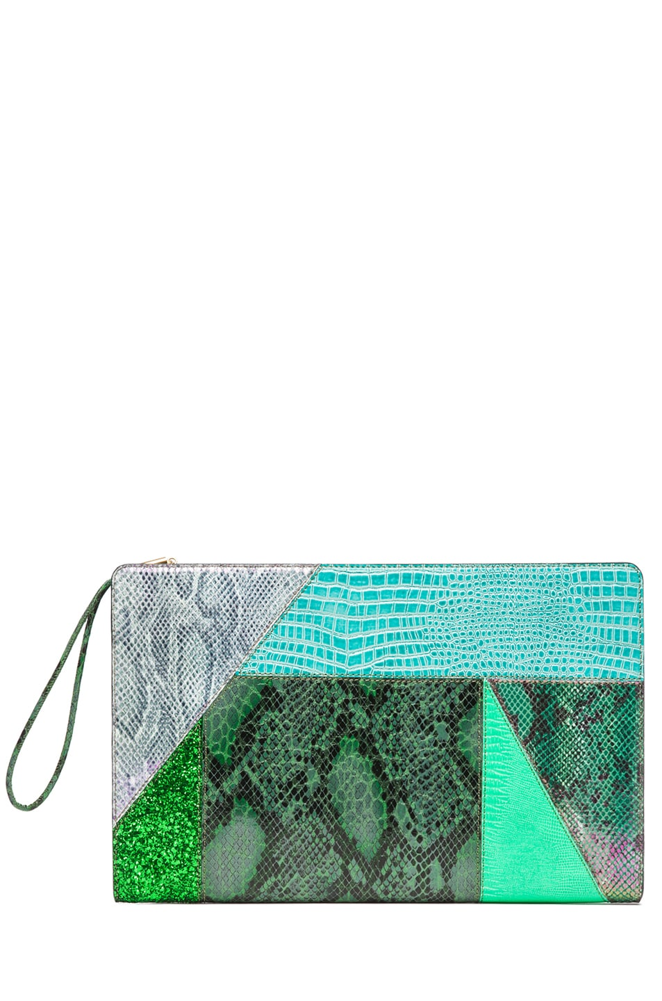 Image 1 of Stella McCartney Oversized Patchwork Clutch in Spearmint