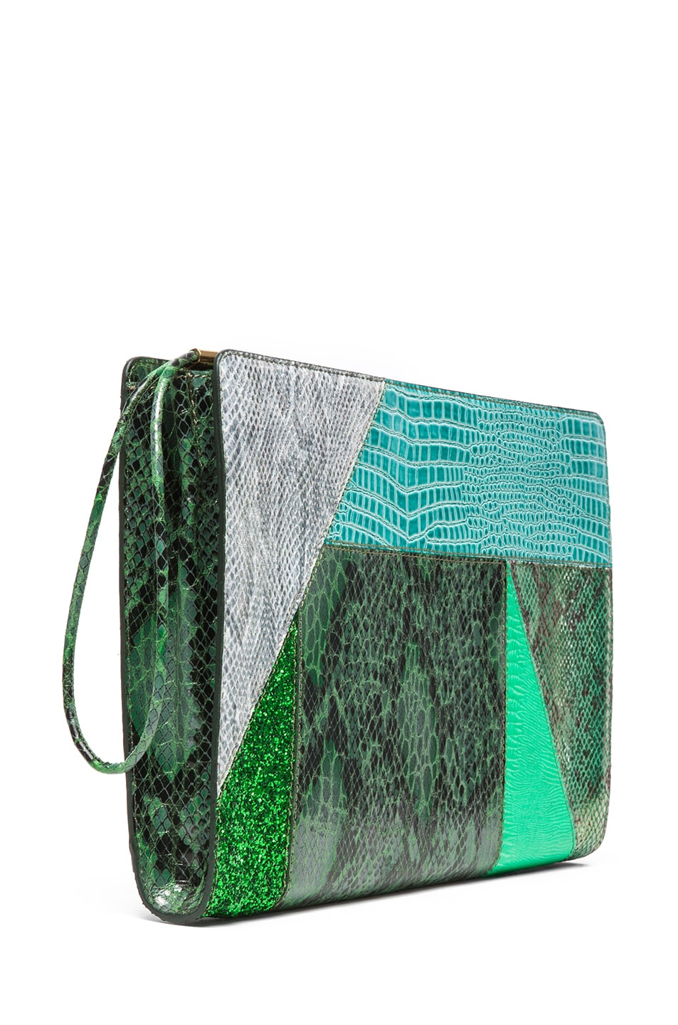 Image 3 of Stella McCartney Oversized Patchwork Clutch in Spearmint