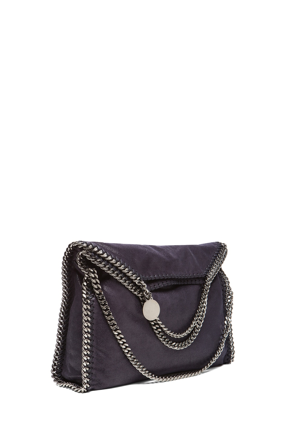 Image 1 of Stella McCartney Small Falabella Fold Over Tote in Navy Blue