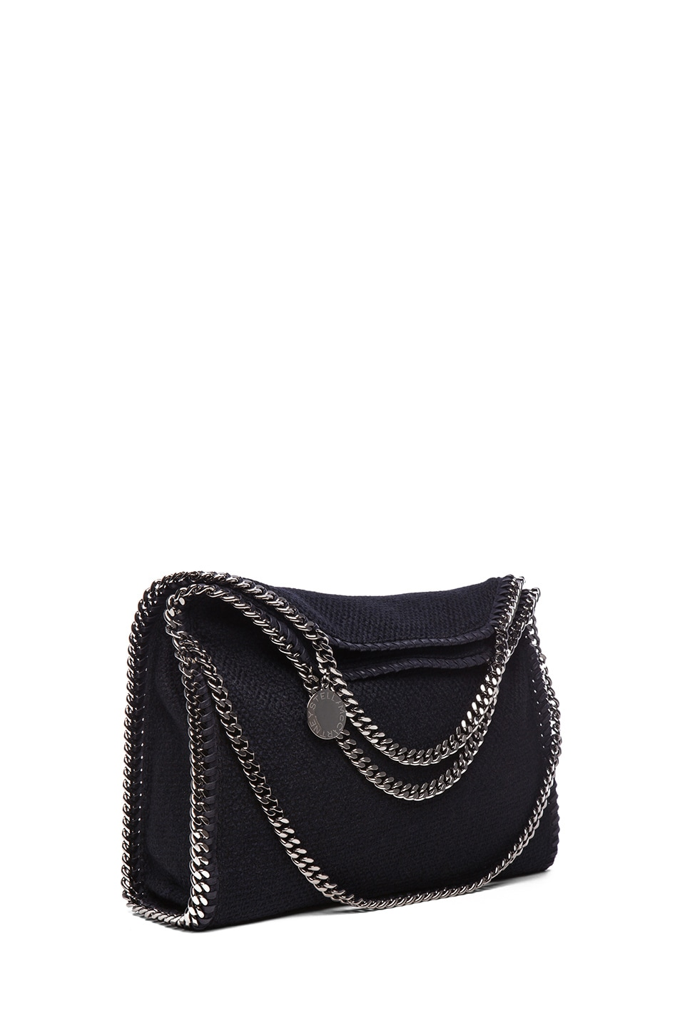 Image 1 of Stella McCartney Small Falabella Fold Over Tweed Tote in Navy