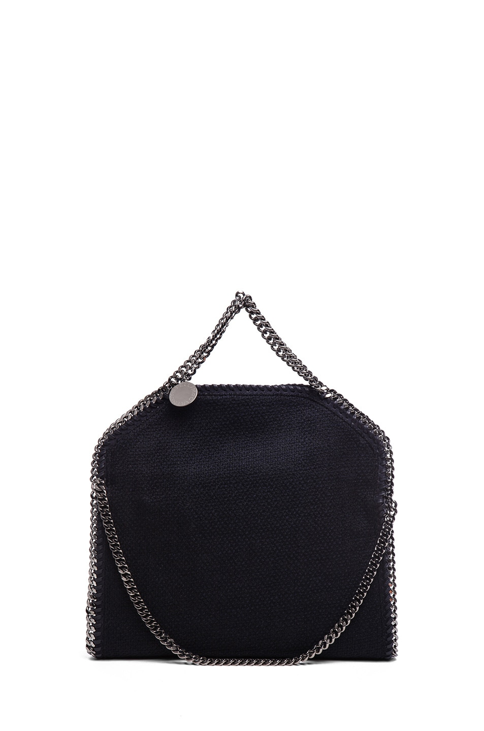 Image 2 of Stella McCartney Small Falabella Fold Over Tweed Tote in Navy