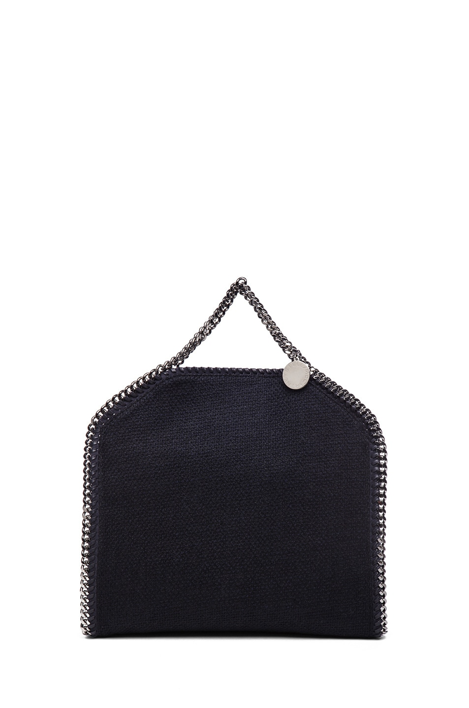 Image 3 of Stella McCartney Small Falabella Fold Over Tweed Tote in Navy