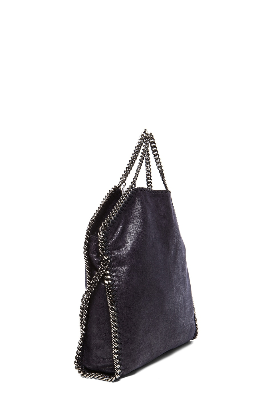Image 4 of Stella McCartney Small Falabella Fold Over Tweed Tote in Navy