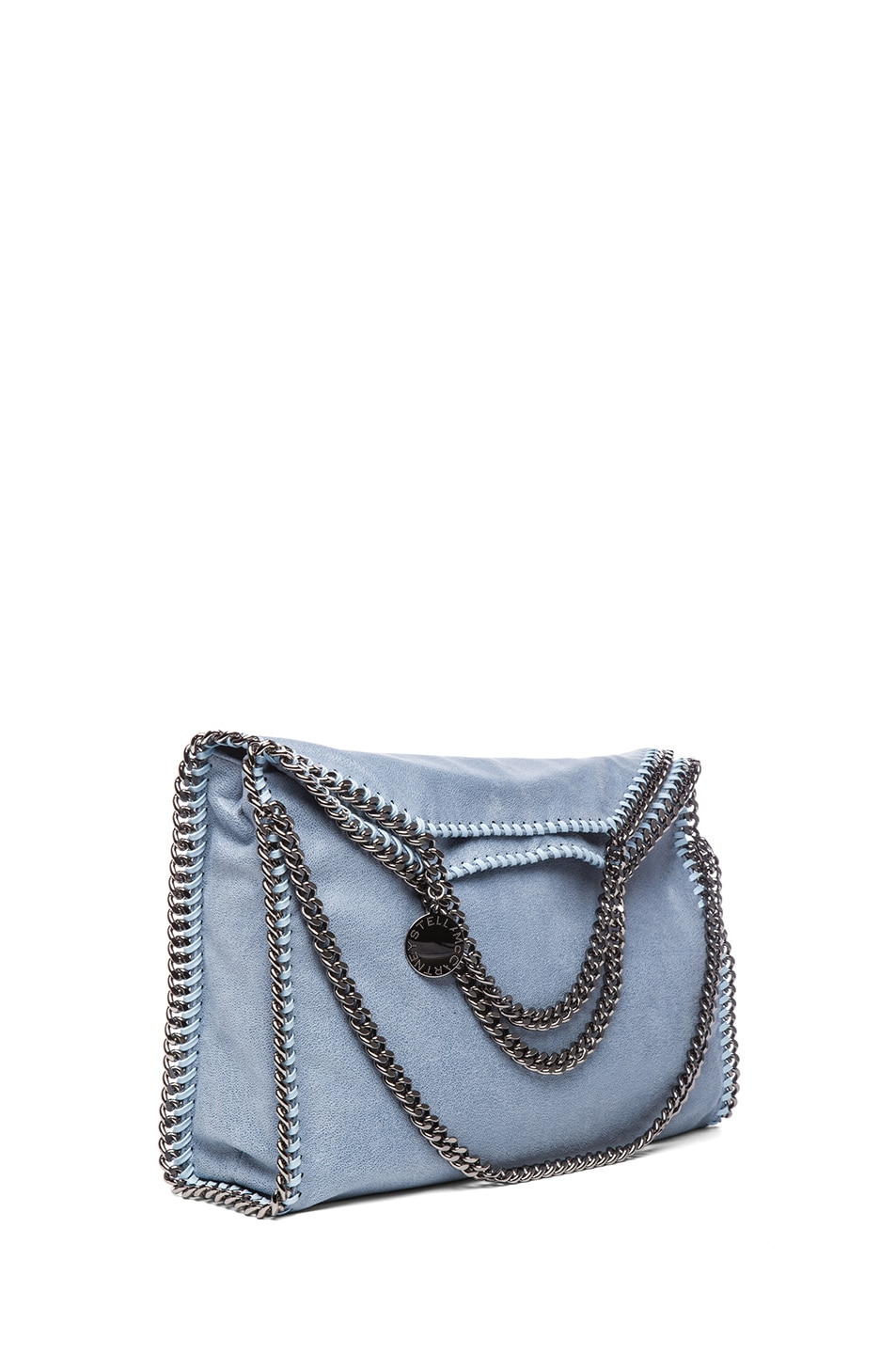 Image 1 of Stella McCartney Small Falabella Fold Over Tote in Duck Blue