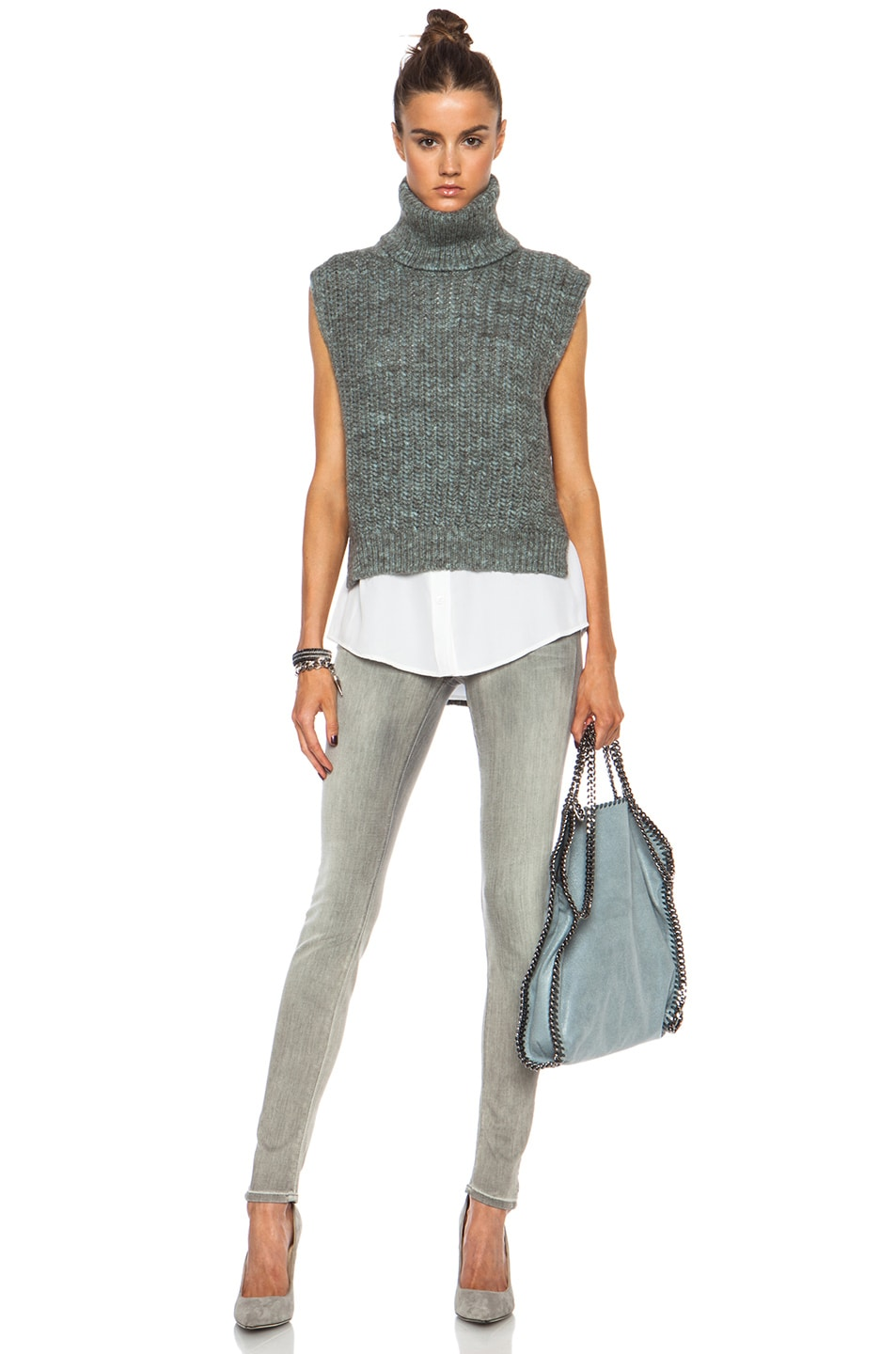 Image 6 of Stella McCartney Small Falabella Shaggy Deer Fold Over Tote in Sky