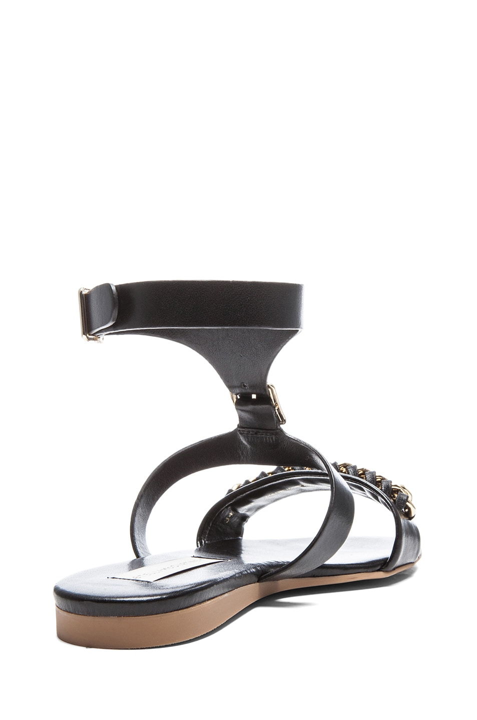 Image 3 of Stella McCartney Faux Leather Flat Sandals in Black
