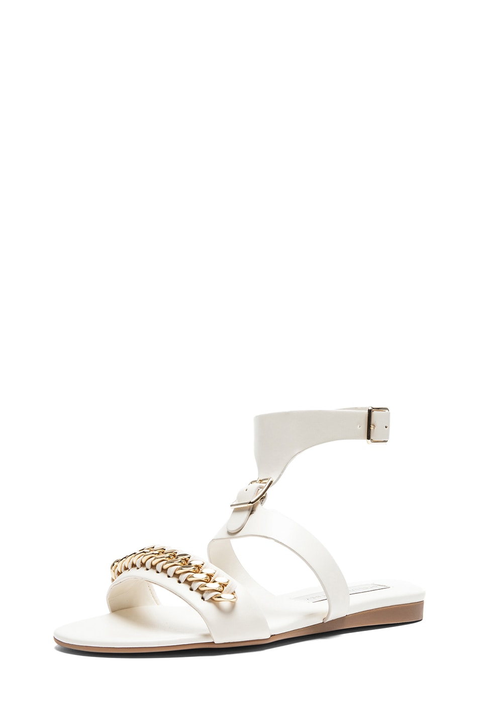 Image 2 of Stella McCartney Faux Leather Flat Sandals in Magnolia