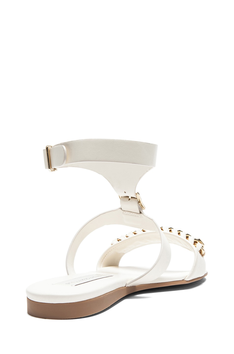 Image 3 of Stella McCartney Faux Leather Flat Sandals in Magnolia
