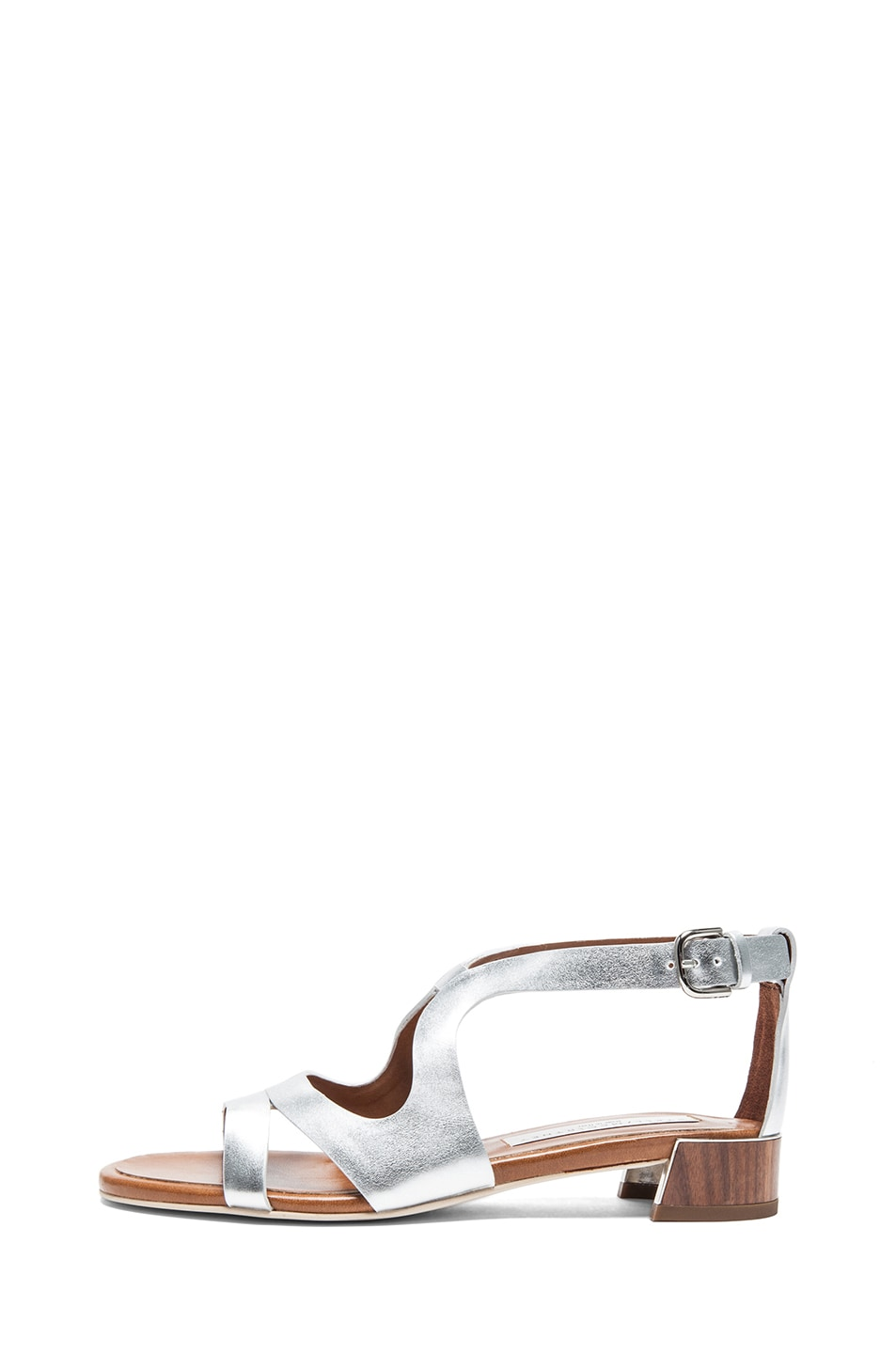 Image 1 of Stella McCartney Faux Leather Flat Sandals in Silver