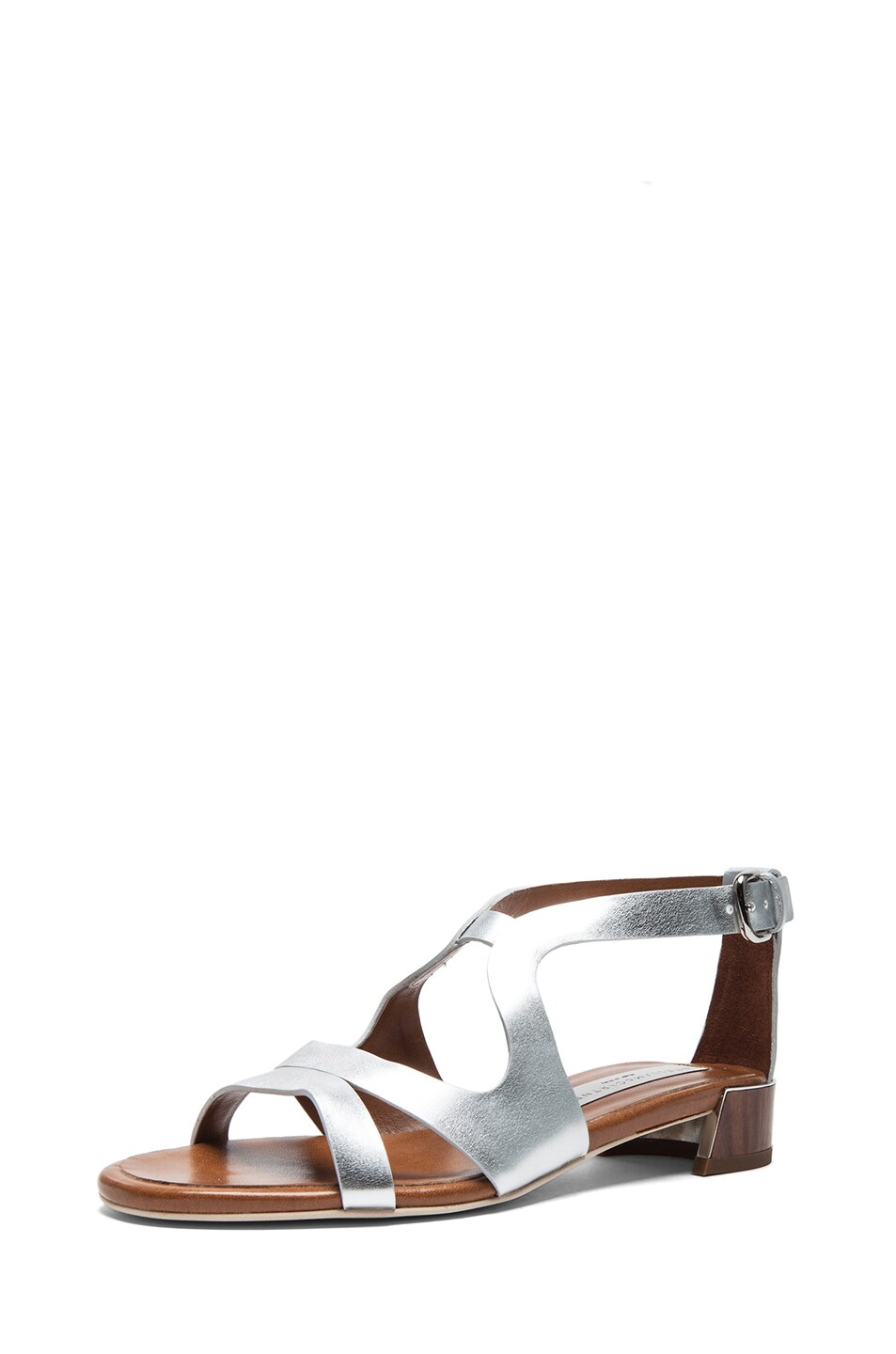Image 2 of Stella McCartney Faux Leather Flat Sandals in Silver