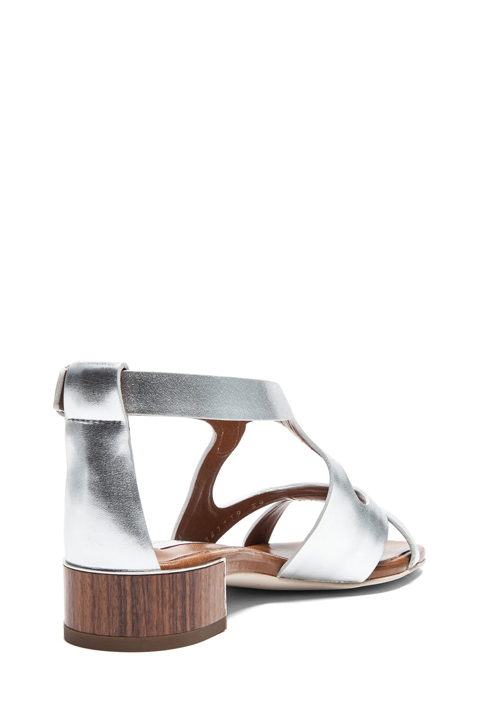 Image 3 of Stella McCartney Faux Leather Flat Sandals in Silver