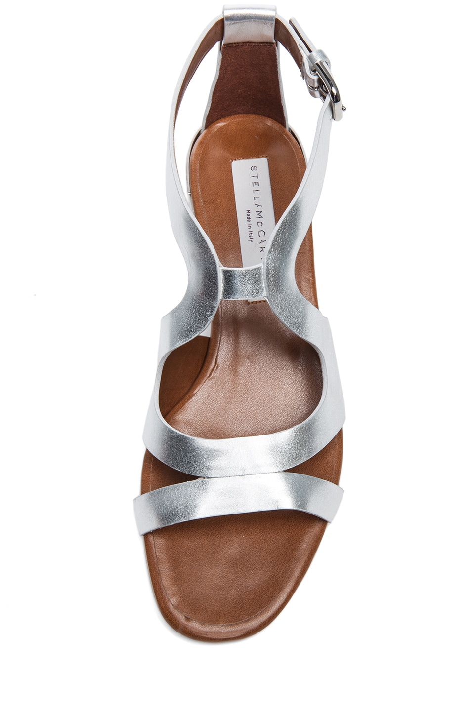 Image 4 of Stella McCartney Faux Leather Flat Sandals in Silver