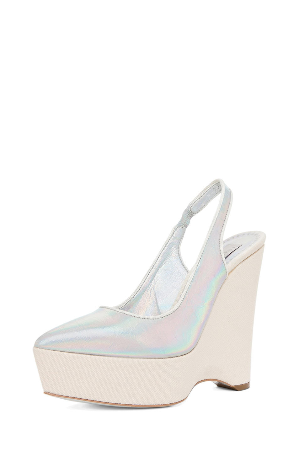 Image 2 of Stella McCartney Sling Back Wedge in Prisma & White