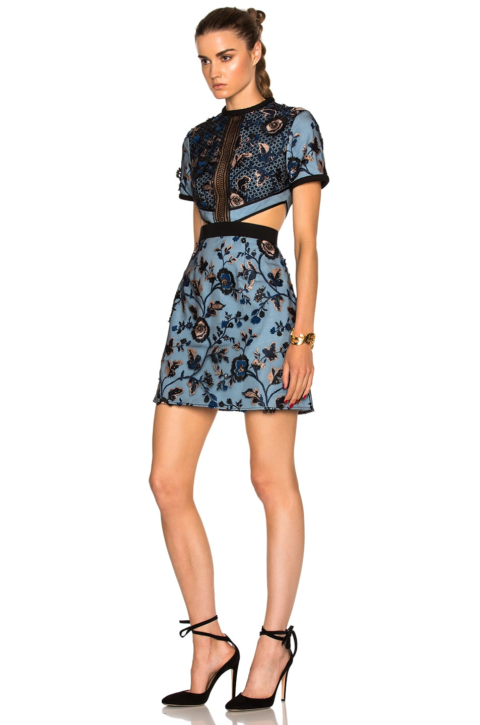 Self portrait florence floral embroidered cutout dress