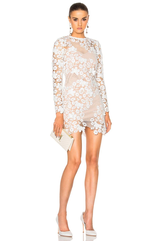 Self Portrait 3d Floral Mini Dress In White Fwrd