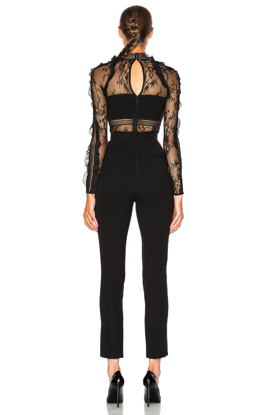 Self Portrait Hall Lace Panel Slim Leg Jumpsuit In Black