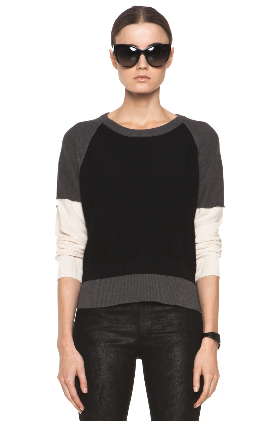 Image 1 of SONIA RYKIEL Color Block Sweater in Black