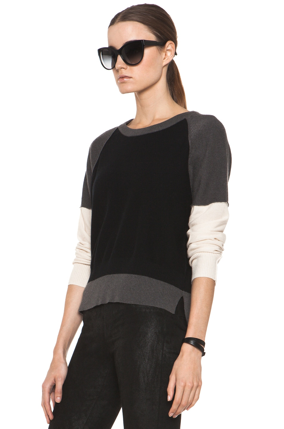 Image 2 of SONIA RYKIEL Color Block Sweater in Black