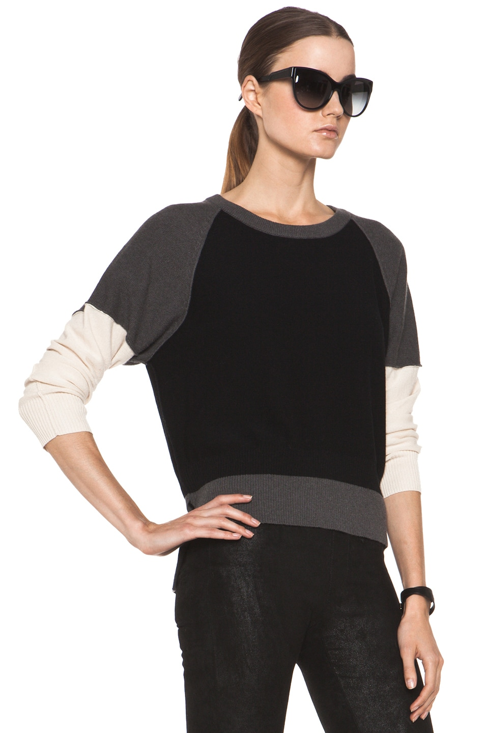 Image 3 of SONIA RYKIEL Color Block Sweater in Black