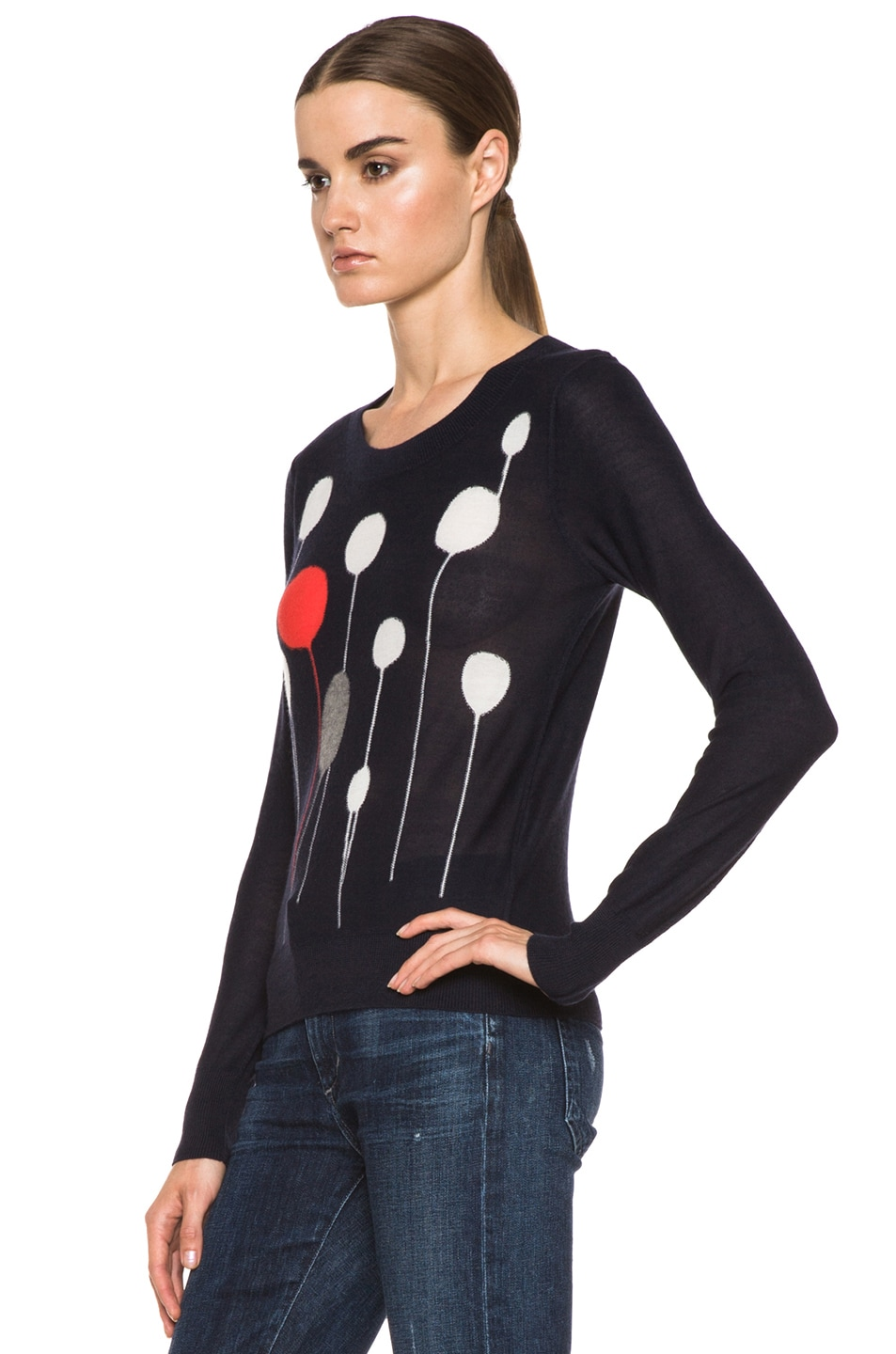 Image 2 of SONIA RYKIEL Graphic Intarsia Cashmere Sweater in Navy