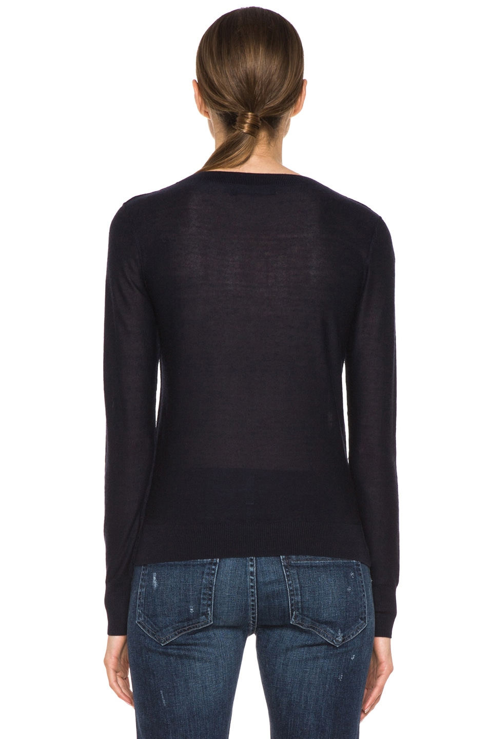 Image 4 of SONIA RYKIEL Graphic Intarsia Cashmere Sweater in Navy