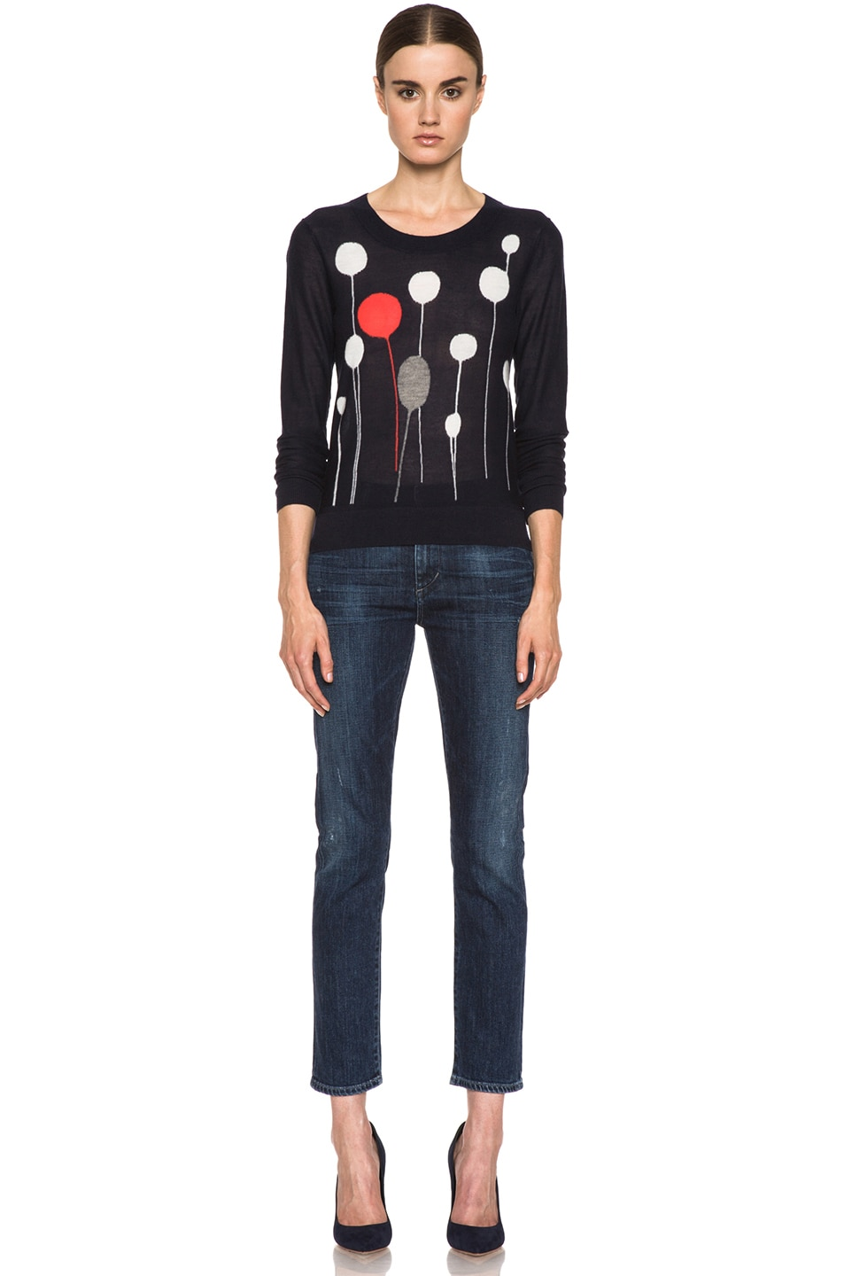 Image 5 of SONIA RYKIEL Graphic Intarsia Cashmere Sweater in Navy