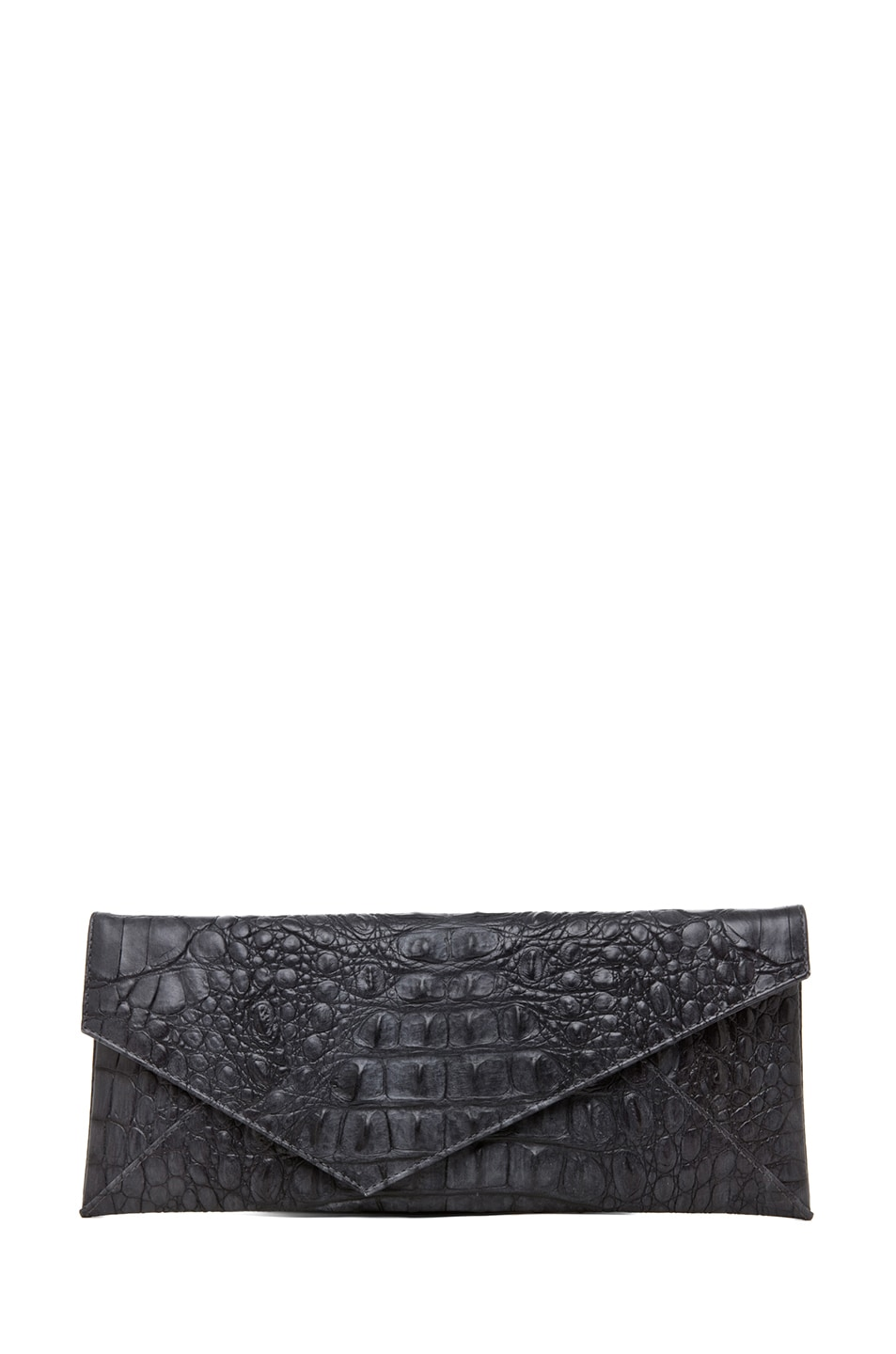 Image 1 of Stark Knotted Croc Clutch in Grey