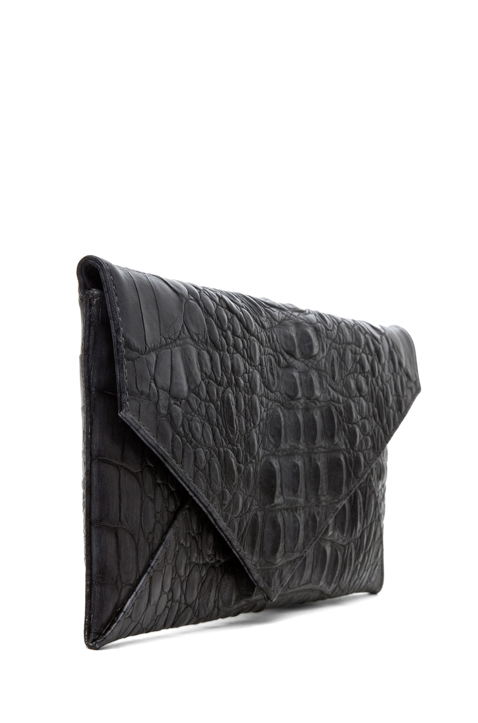 Image 3 of Stark Knotted Croc Clutch in Grey