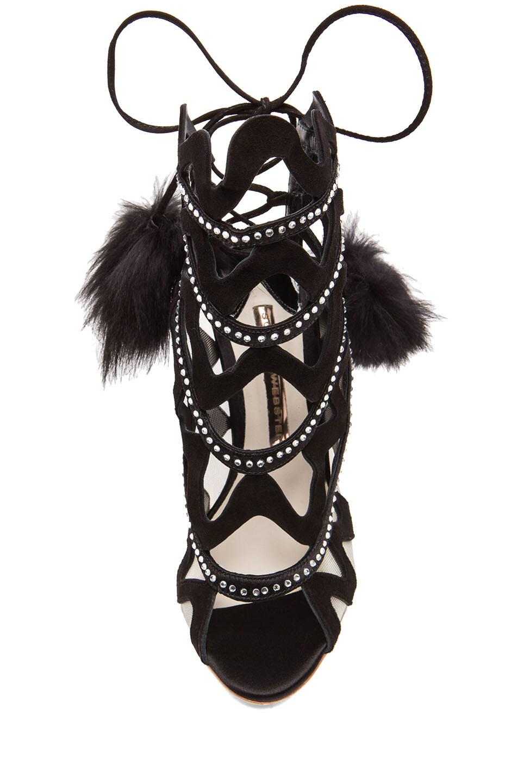 Image 4 of Sophia Webster Crystal Mila Suede Heels in Black