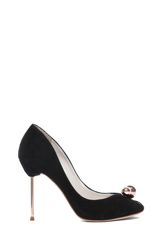 Image 1 of Sophia Webster Suede Peep Toe Pumps in Black & Rose Gold