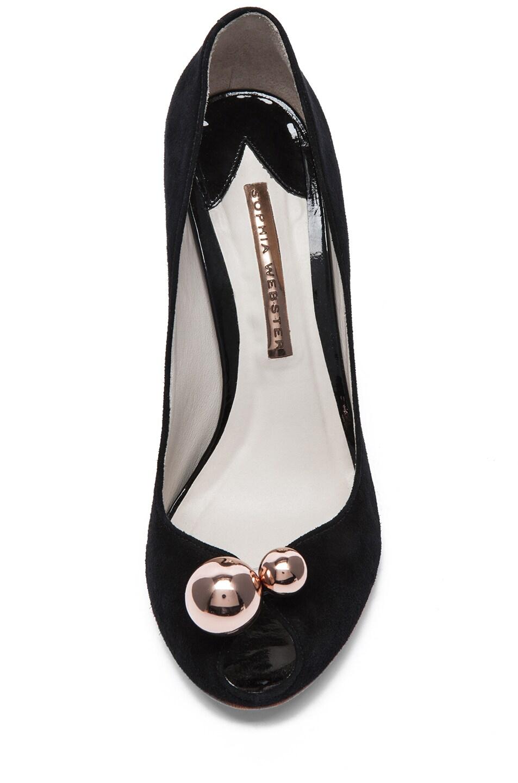 Image 4 of Sophia Webster Suede Peep Toe Pumps in Black & Rose Gold